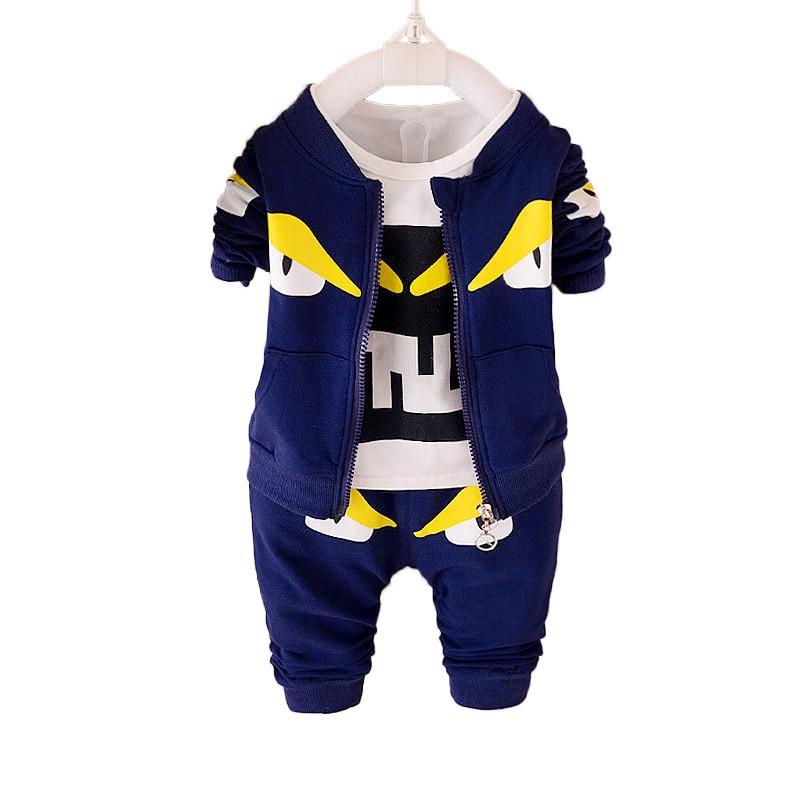 Monster Autumn Spring 3 Piece Boy Clothes Sets Chidren Kids Boys Outfits Zipper Coat+T-shirt+Pant Suits Cotton Boys Clothes