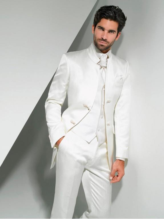 2017 New Arrival White Groom Tuxedos Mandarin Lapel Men's Suit Grooms man/Best Man Wedding/Prom Suits(Jacket+Pants+Tie+Vest)