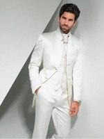 2017 Nuovo Arrivo Bianco Smoking Dello Sposo Mandarin Risvolto Vestito degli uomini Sposi man/Best Man Wedding/Prom Abiti (Jacket + Pants + Tie + Vest)