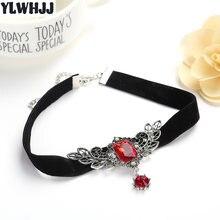 Ylwhjj nova asa feminina cristal vermelho gem gargantilha colar menina torques marca strass curto metal gargantilha moda quente preto jóias