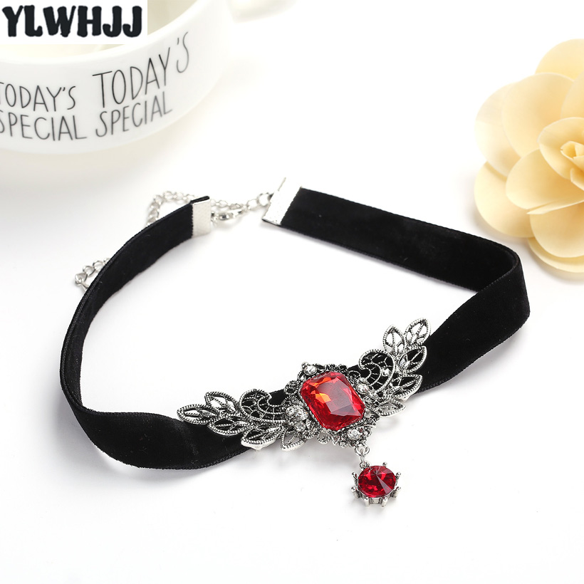 YLWHJJ new women wing crystal red gem choker necklace girl torques brand rhinestone short metal choker hot fashion black jewelry