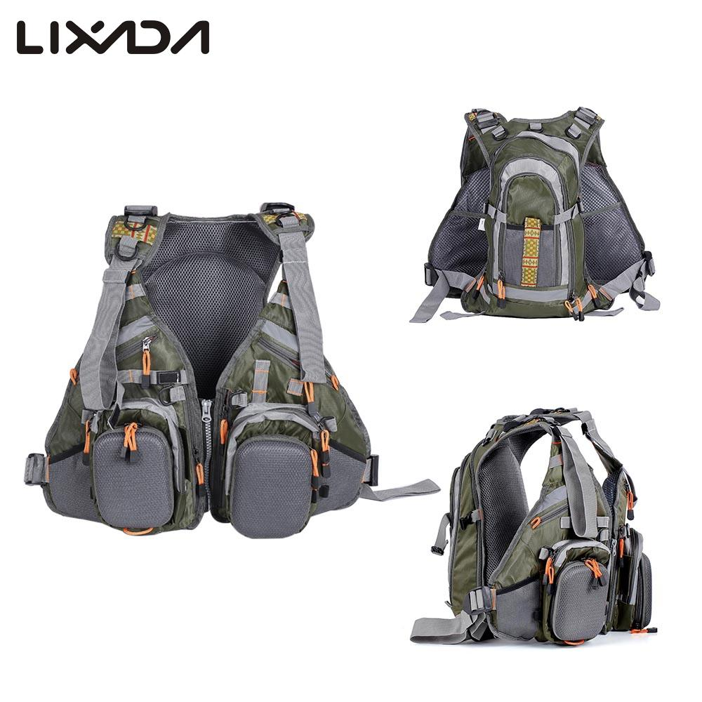 Lixada 3 In 1 Fishing Vest and Backpack Breathable Outdoor Fishing Safety Life Jacket For Fisherman