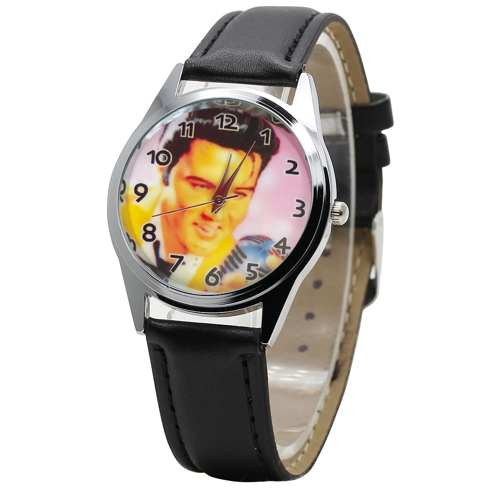 Black Personality Boy Girl Cartoon Elvis Leather Watch Fashion Big Dial Quartz Children Clock Christmas Gift  Kids  Watch