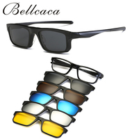 Fashion Spectacle Frame Eyeglasses Men Women With 5 Clip On Polarized Sunglasses Magnetic Adsorbent For Male