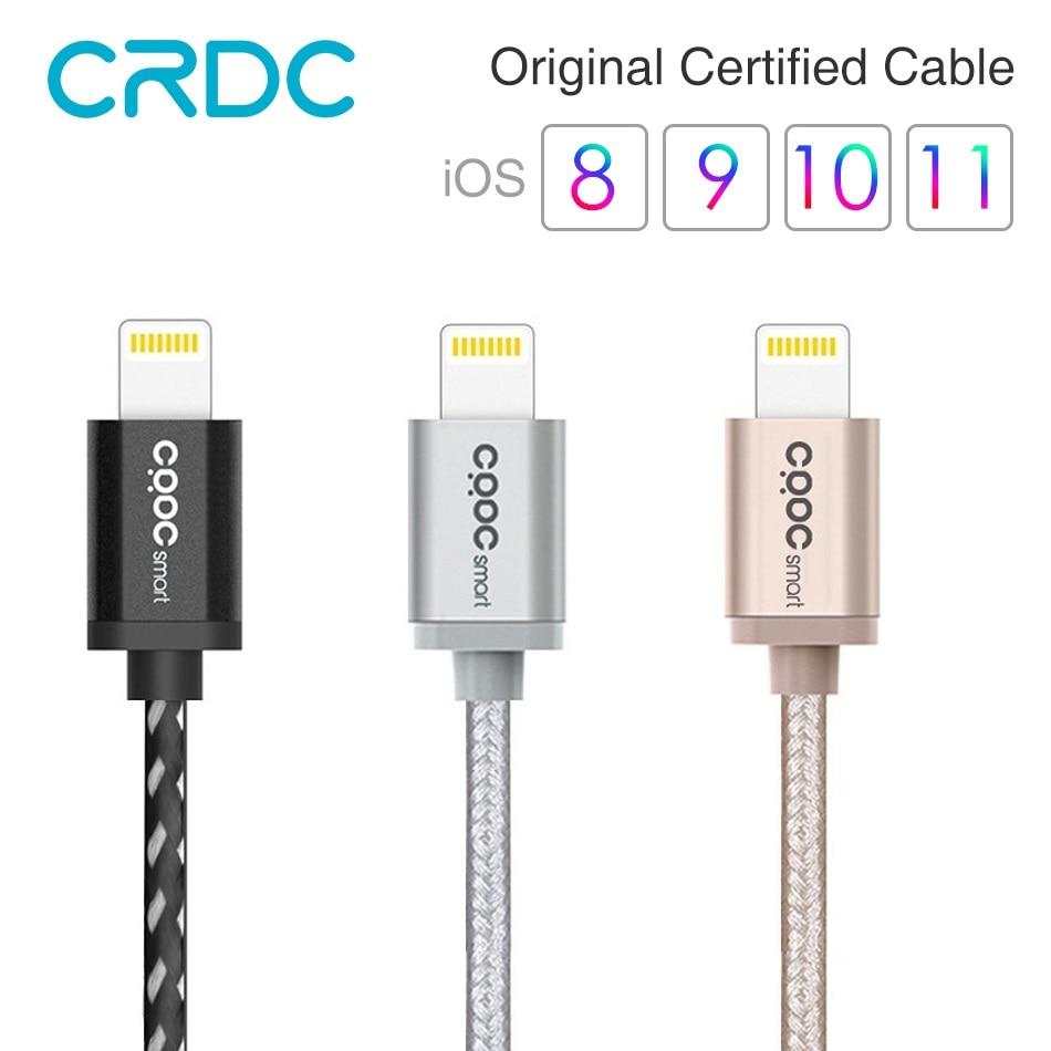 USB para iphone Cable CRDC MFi Lightning Cable para iPhone 7 6x8 5 plus 120 cm Nylon trenza Cable de datos de carga rápida para iPad iPod