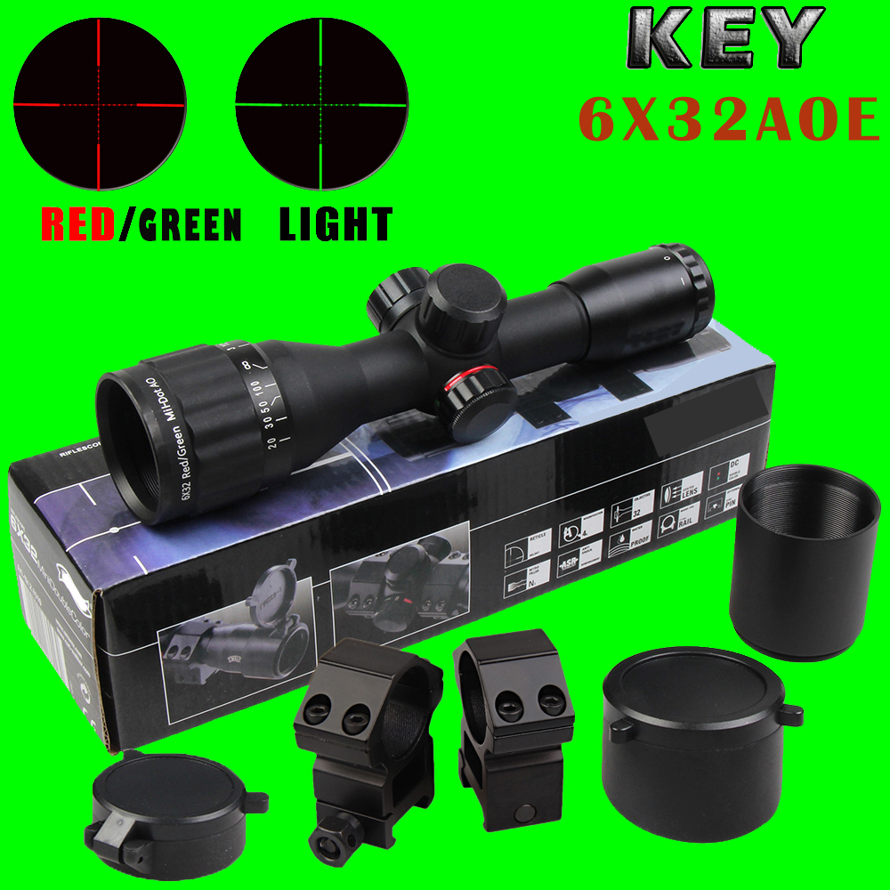 New KEY 6X32AOE Hunting Compact Riflescope Tactical Optical Sights Red and Green Illuminated Rifle Scope for airsoft airgun