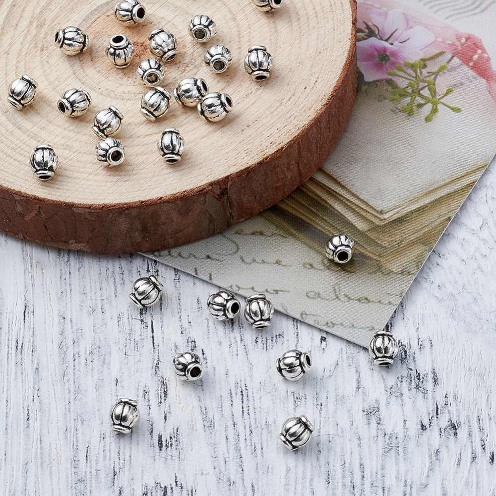 100x 4mm Tibetan Silver Barrel Spacer Metal  Beads Lead Free /& Cadmium Free