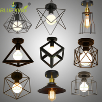 Modern Led Birdcage Ceiling Lights Iron Minimalist Retro Ceiling Lamp Scandinavian Loft Pyramid Lamp Metal Cage