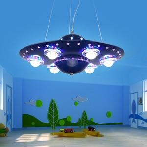 Image 2 - リモコンufoペンダントライトシルバーブルー子供子供少年の寝室ペンダント幼稚園保育園器具