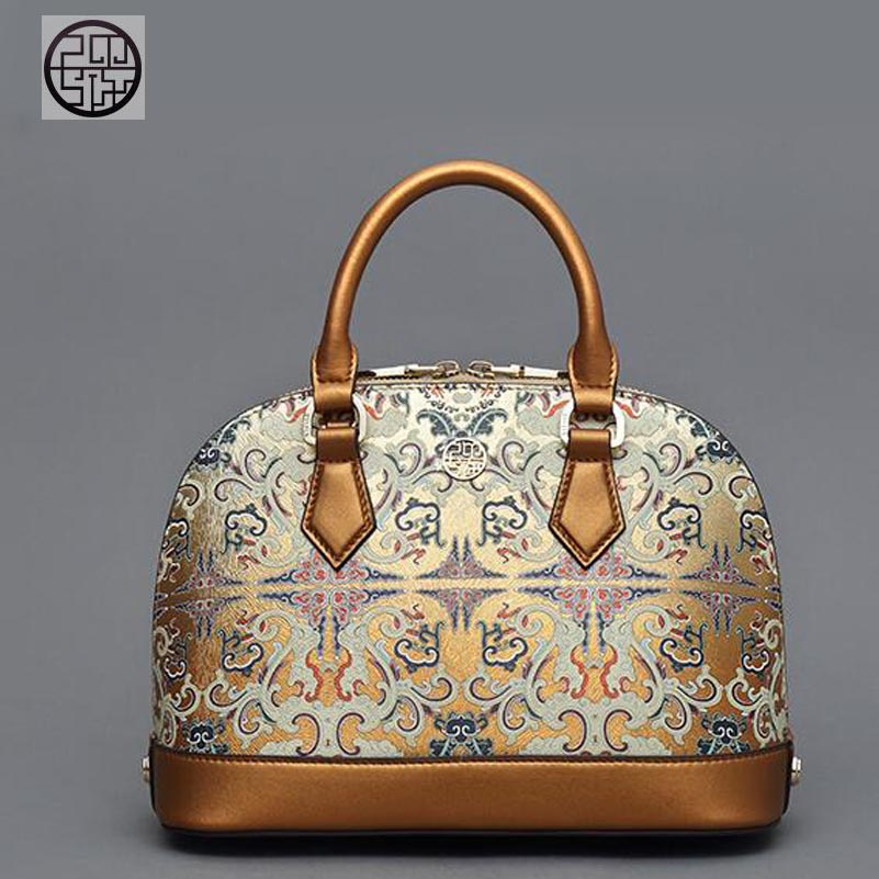 Pmsix 2020 new leather handbag Chinese gold printing shell bag fashion ladies handbag shoulder bag perfect leather leather bag