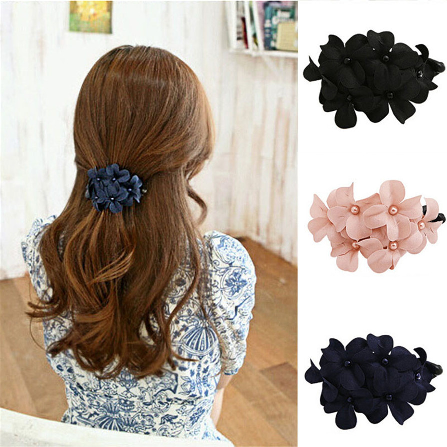 Fast Deliver 3 Colors 1pc New Hot Fashion Chic Girl Handmade Flower Banana Barrette Hair Clip Hair Pin Claw High Quality Drop Shipping Jc28 Drip-Dry