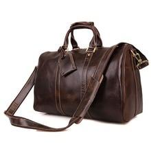 Free Ship Genuine Leather Vintage Chocolate Huge Luggage Bag Men Travel Bags # 7077C