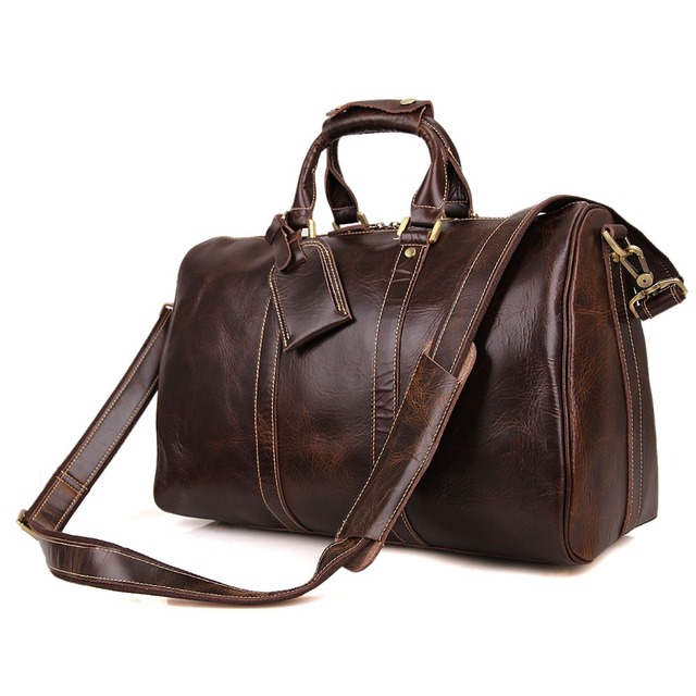 JMD Cuero Auténtico Vintage Chocolate Enorme Bolsa de Equipaje Grandes Hombres Bolsas de Viaje # 7077C