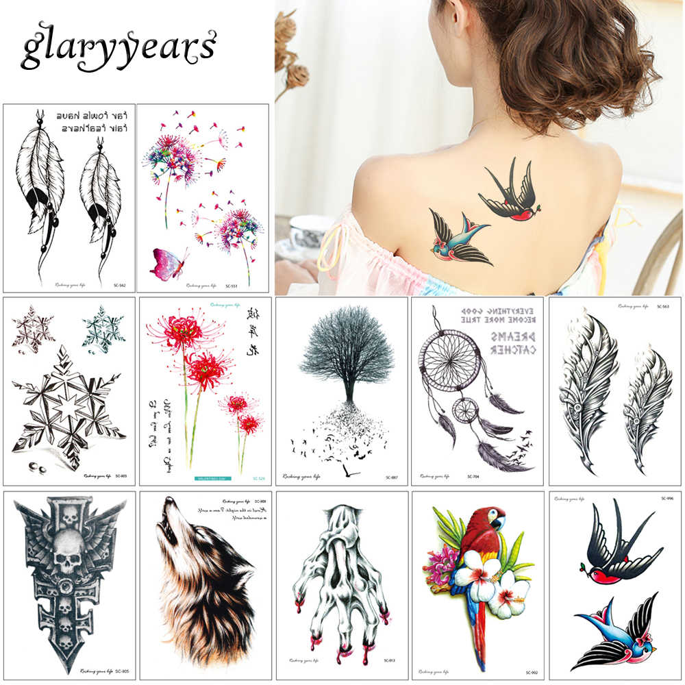 Glaryyears 5 Pieces Lot Temporary Body Tattoo Sc Beauty Design Flower Cat Simple For Women Men Chest Thigh Neck Art Sticker 2019 Temporary Body Tattoos Body Tattoodesigner Tattoos Aliexpress