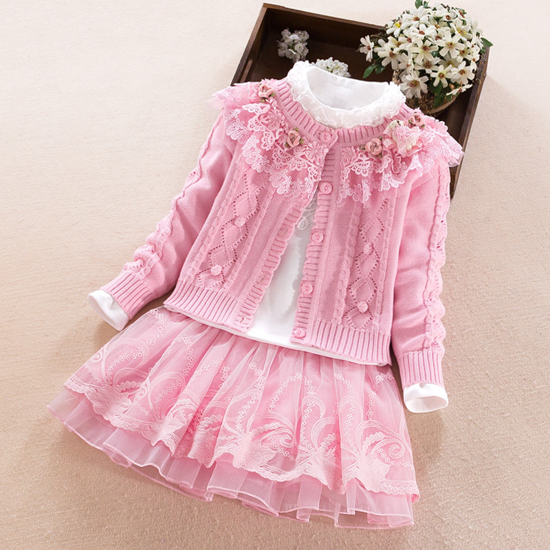 3pcs/set Girls Clothing Set Children's 2018 Autumn Winter Knit Twist Sweater Lace Pure Cotton Sweater Warm Wool Cardigan eyelet lace up open back texture knit sweater