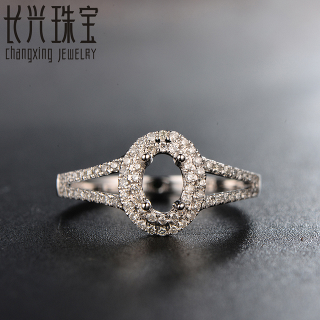 18K White Gold Semi Mount Engagement Pave Diamond Ring Setting 4x6mm Oval for men and women
