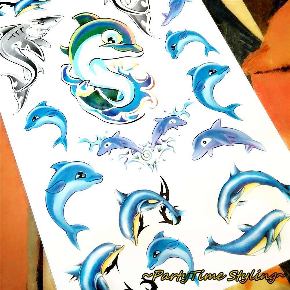 っModa caliente. Tatuaje Adhesivos. Delfines azules. Transferencia ...