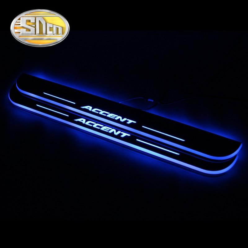 4 pièces acrylique mobile LED bienvenue pédale voiture plaque de seuil pédale porte seuil voie lumière pour Hyundai Accent I25 2012 2013 2014 2015