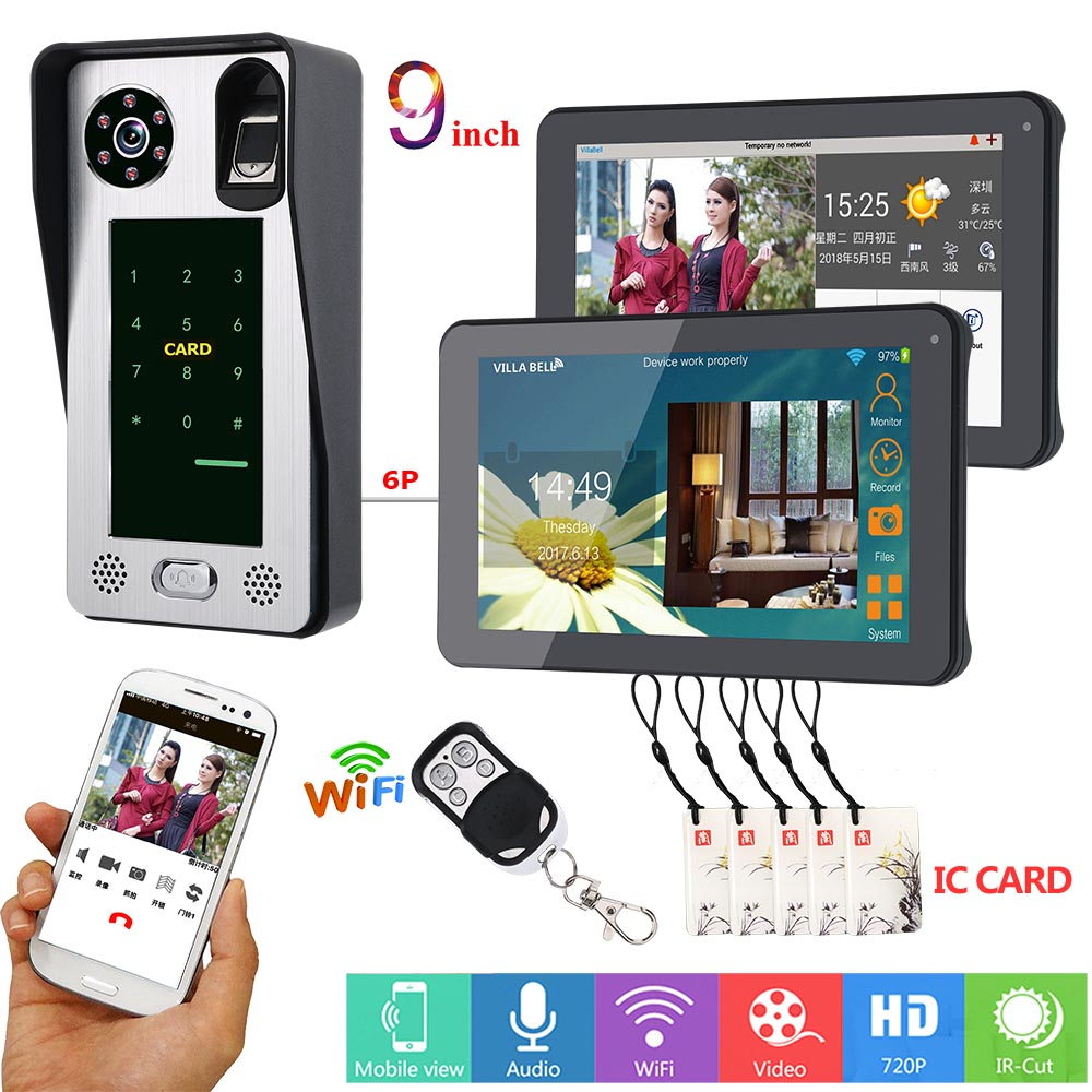SmartYIBA APP Control 2x 9 Inch Monitor Wifi Wireless Video Door Phone Doorbell Intercom Fingerprint Password IC Card Camera KIT