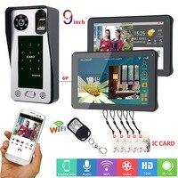 SmartYIBA APP Control 2x 9 Inch Monitor Wifi Wireless Video Door Phone Doorbell Intercom Fingerprint Password IC Card Camera KIT