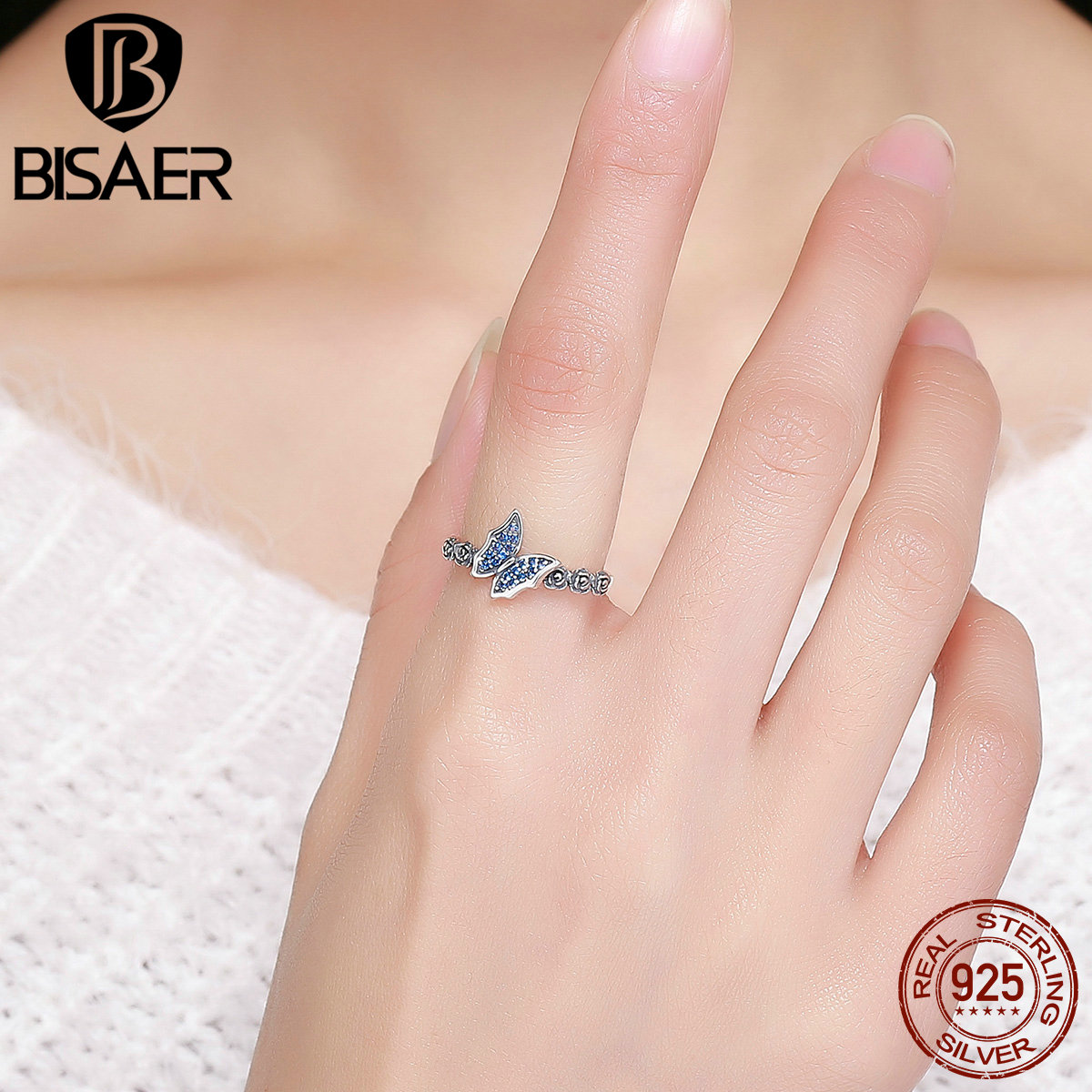 BISAER Anel 100% 925 Sterling Silver Femme Butterfly with Rose ...