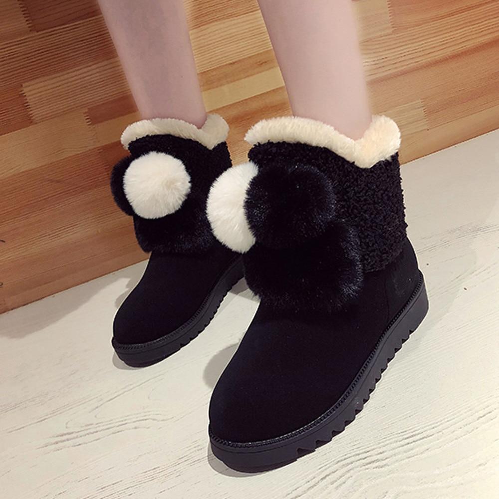 6bffe093 Punta Botas 2018nov3 Negro Zapatos on Invierno Caliente Plano Mujer Redonda  Moda Nieve Slip marrón Mantener ...