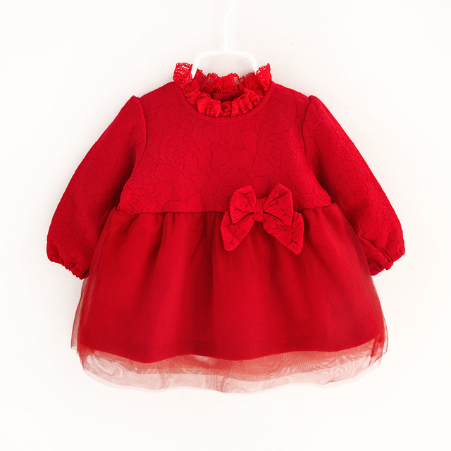 2016 Spring Fashion Lace Girls Dresses Full Sleeves Bow Baby Dress Solid Red Kids Tops Infant Princess Dresses Child Clothing