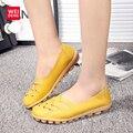 Mulheres Genuínas Flats De Couro Gommino Mocassim Loafers Deslizamento Casual Em Couro de Vaca de Condução Moda Ballet Sapatos de Barco