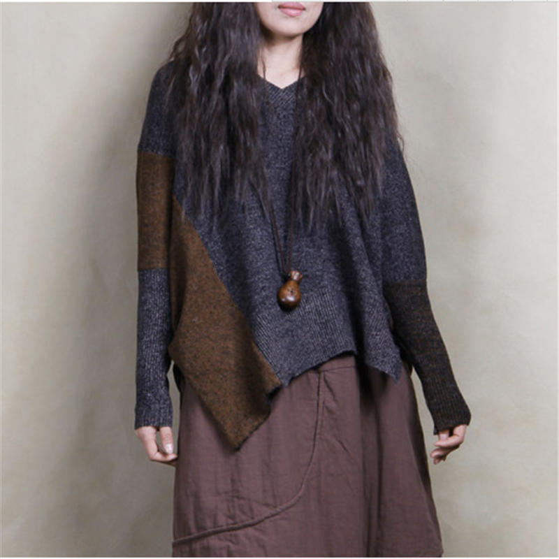 Johnature Women Sweaters Loose Long Sleeve V-Neck Asymmetric Sweep 2016 Autumn Winter Warm Pullovers Vintage Sweaters Bat Sleeve