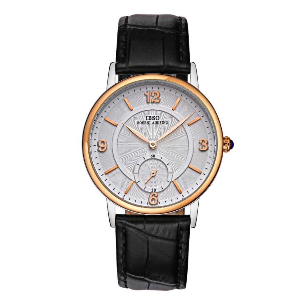 IBSO Top Quality Quartz Watch Small Seconds Two Tone Watches with Genuine Leather Strap 3976 plus size button detail two tone top