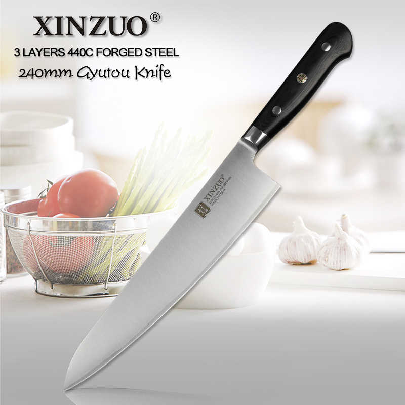 XINZUO 24cm Chef Knife Stainless Steel 3 Layer 440C Core Clad Steel Kitchen Knives G10 Handle Butchers Cleaver Meat Gyutou knife