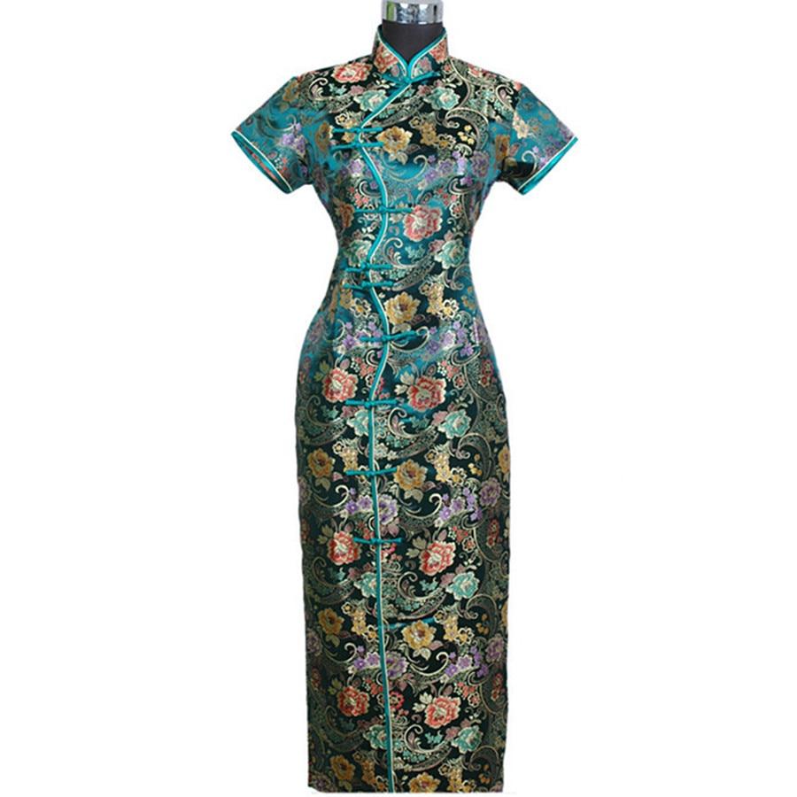Green Spring Autumn Chinese Women's Satin Long Halter Cheongsam Qipao Elegant Dress Flower S M L XL XXL XXXL