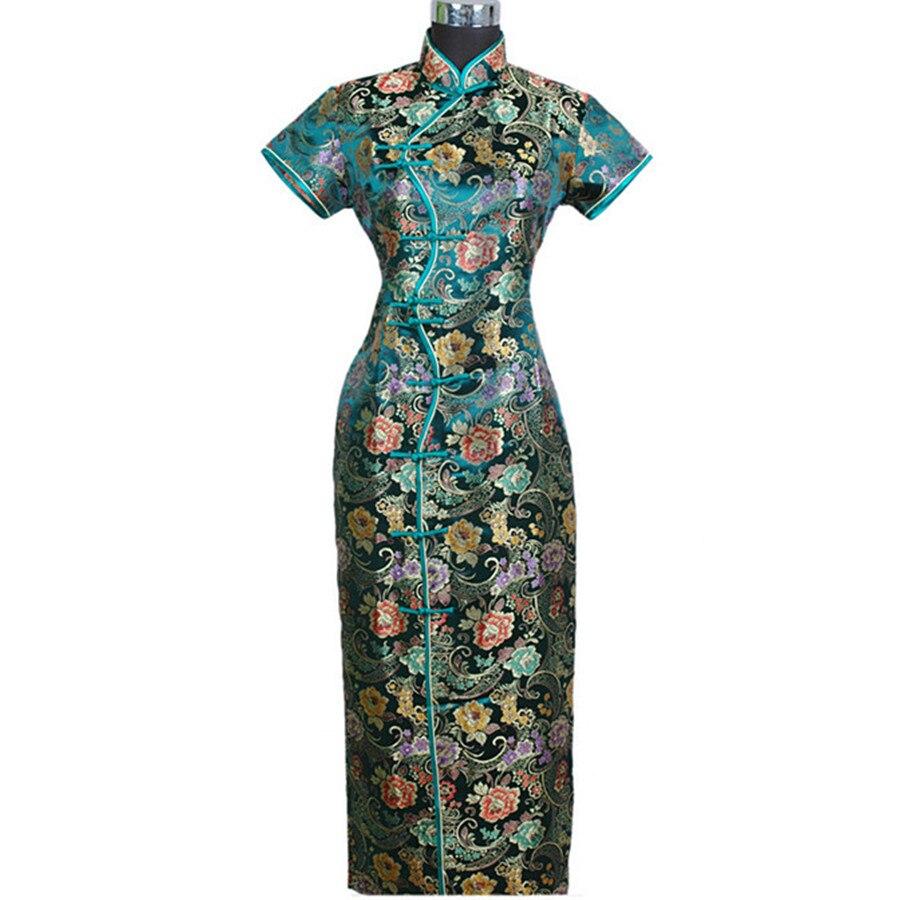 Verde di Autunno della Molla delle Donne Cinesi di Raso Lunga Halter Cheongsam Qipao Vestito Elegante Fiore S M L XL XXL XXXL