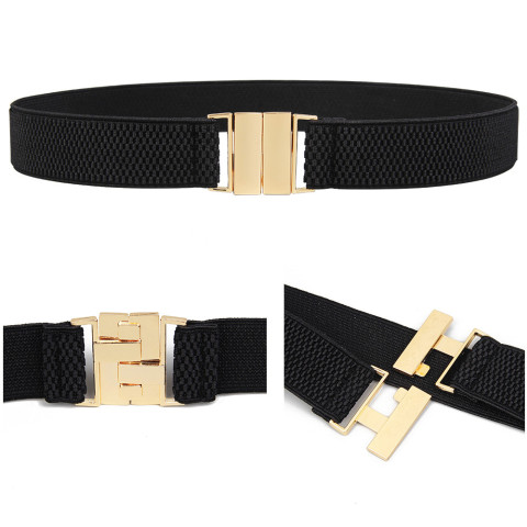 HOT Woman Elastic waistband corset lady black cummerbunds Gold Wide Stretch dress Waistband Belt women Girls Apparel Accessories Lahore
