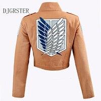 DJGRSTER Attack On Titan Jacket Shingeki No Kyojin Legion Coat Cosplay Eren Levi Jacket Plus Size