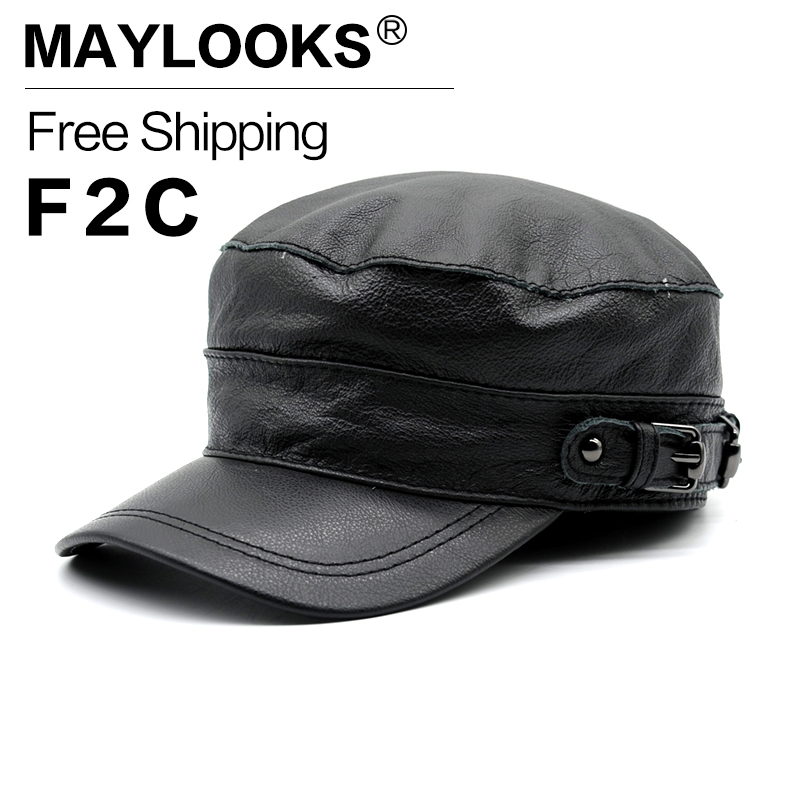 Maylooks Real Cowhide Baseball Cap For Men Fashion Genuine Leather Adult Hat Brand New Men's Adjustable Army Caps Gorros CS70 hopebird letter leather brand gorros knitted cap baggy beanie winter female pompon women hat skullies autumn bonnet femme cap