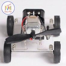 Мини-двигатель DIY робот комплект Education сборки Smart авторотация ветер автомобилей детские игрушки для 3 + детские головоломки Батарея подарки на день рождения