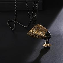 HIP Hop Ancient Egypt Queen Men Necklace Black 316L Stainless Steel Nefertiti Pendants Necklaces Mens Hiphop Jewelry