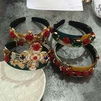 Bride Crown Headband Peacock Blue Wedding Dress Luxury Baroque Crown Headdress Hair Accessories Studio 0896