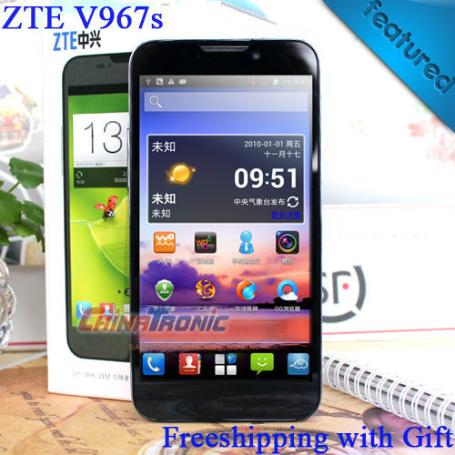 "Original ZTE V967S MTK6589 Quad core Android 4.2 Multi-language 3 G Dual SIM 5.0 "" QHD IPS cámara 5.0mp 1 GB RAM / 4 GB ROM regalo libre"
