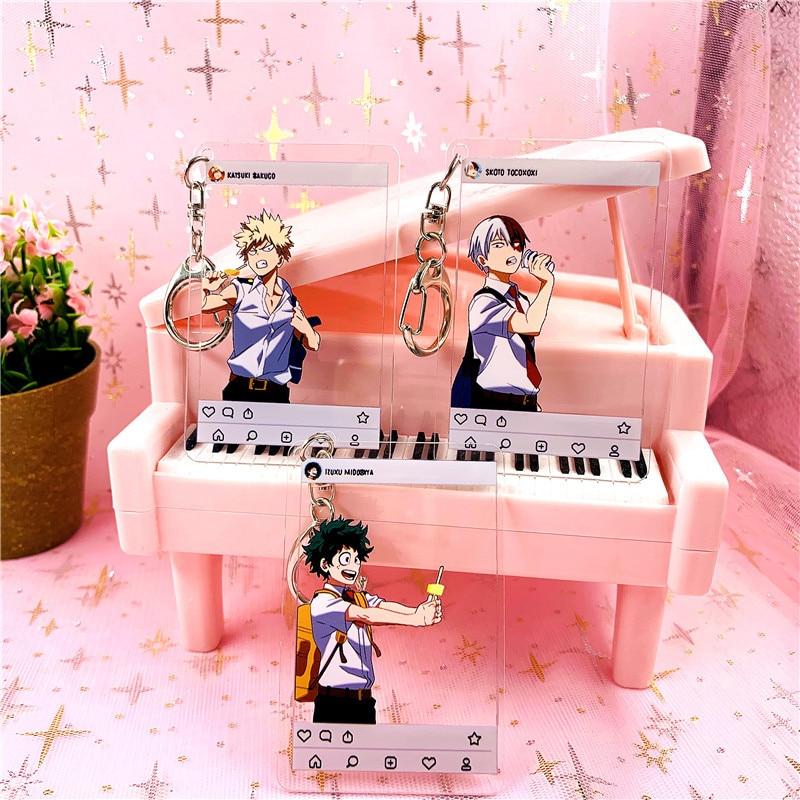 2019 Fashion Lovely Cartoon Anime New Academia My Hero Academi Keychain Acrylic Key Ring Charms Gift