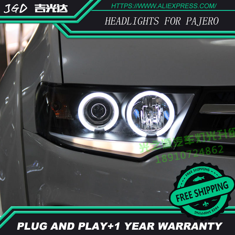 купить Free shipping! Car styling LED HID Rio LED headlights Head Lamp case for Mitsubishi Pajero headlight Bi-Xenon Lens low beam недорого