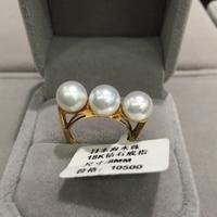 3 pearls Natural Sea Water Pearl Ring 18K Gold Japan Akoya Pearl Ring Balance Fine Women Jewery Anniversary jewelry