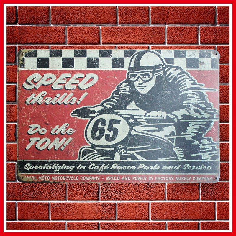 New Vintage Speed Motorcycles Metal Signs Home Decor Vintage Tin Signs Pub Vintage Decorative Plates Metal Wall Art ...