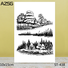 AZSG Tower tree Grass River bank Clear Stamps For DIY Scrapbooking/Card Making/Album Decorative Silicone Stamp Crafts