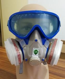 Image 2 - SJL силиконовая газовая маска с картриджами 3 #, 7 шт., костюм с защитными очками, полностью лицевая защитная маска с углеродным фильтром