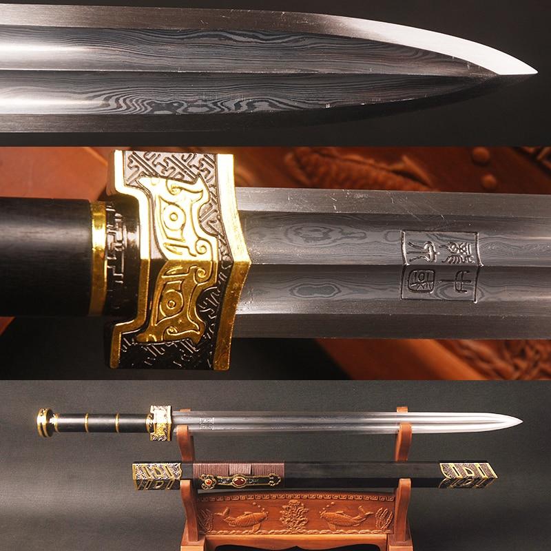 Handmade Chinese Ruyi Sword Blackwood Kuroki Sheath Folded Steel Blade Chinese Knife Vintage Home Decor Display Cosplay Sword