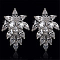 Crystal From Swarovski Jewelry Glitzy Wedding Stud Earrings Prevent Allergy Plated Silver Earring Christmas Gift For Women