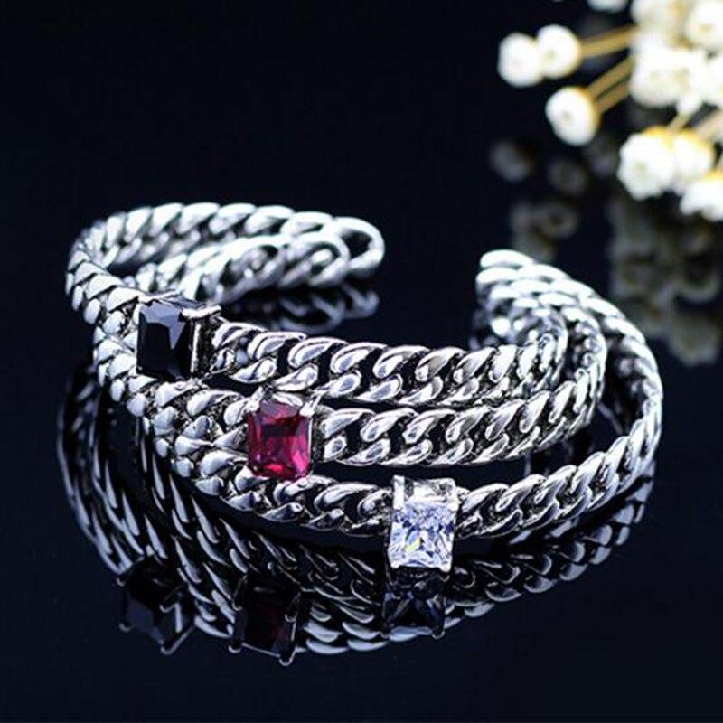 Anenjery 925 Sterling Silver Jewelry Thai Silver Bangle Punk Zircon Rope Chian Cuff Bracelets & Bangles Pulseras S-B109