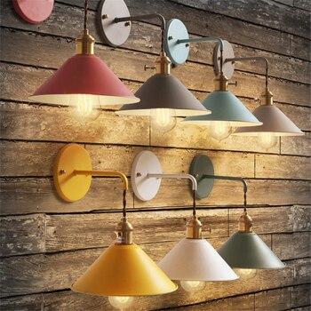 Современная прикроватная настенная лампа для чтения прохода, настенный светильник, цветной E27, для гостиной, коридора, металлические светил...